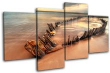 Beach Boatwreck Sunset Seascape - 13-0354(00B)-MP04-LO